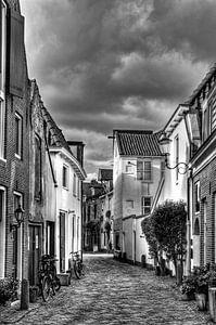 Muurhuizen historisch Amersfoort zwart-wit van