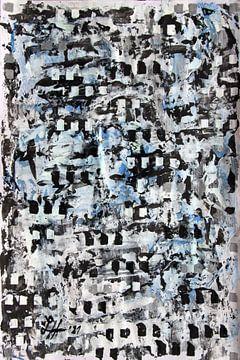 Blaue Farbtupfer auf schwarz-weißem Gewirr mit schwarzen Quadraten von elha-Art