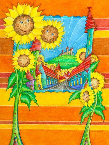 Sonnenblumen Stadt van Atelier BuntePunkt