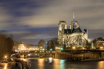 Notre-dame in de nacht aan de Seine van Dennis van de Water