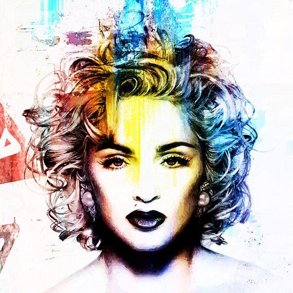 Madonna Vogue Abstrakt Porträt Blau Rot Gelb von Art By Dominic