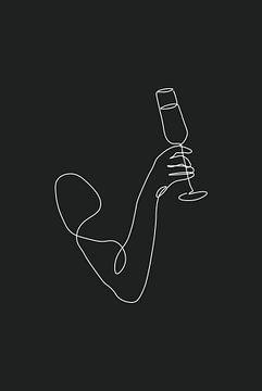 Champagne Line Art van Walljar