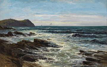 Carlos de Haes-Blaues Meer, Seeriff, Wellen, Riffansicht, Antike Landschaft