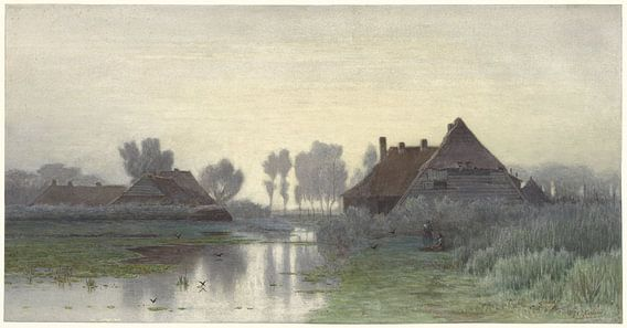 Boerenwoningen aan het water bij ochtendnevel, Paul Joseph Constantin Gabriël van Meesterlijcke Meesters