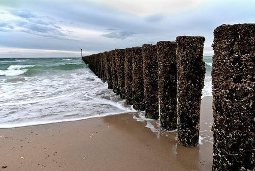 Paaltjes op het strand van