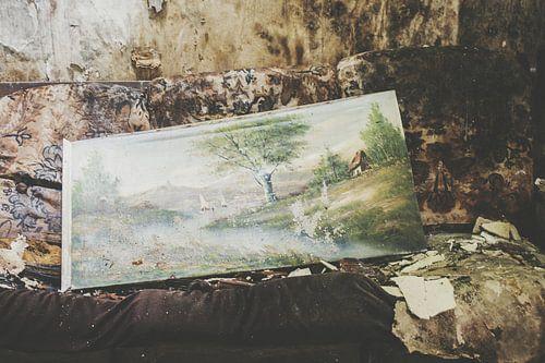 Schilderij op oude bank van Ivana Luijten