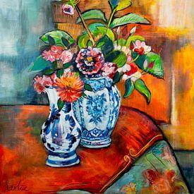 Fleurs sur la table sur Liesbeth Serlie