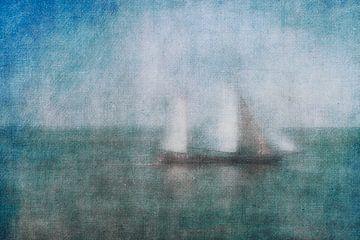 Zeilboot op de Waddenzee van Greetje van Son