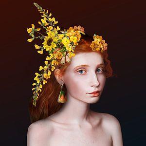 La fille avec les fleurs