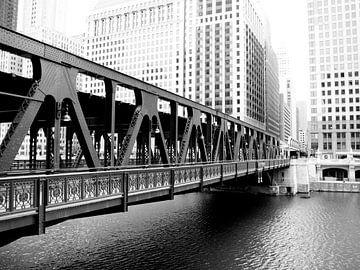 Brug over de Chicago rivier van Bert Broer