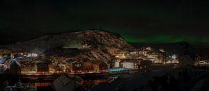 Panorama van Nyksund bij het noorderlicht van Kai Müller