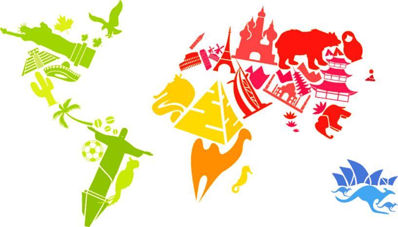 Carte du monde, joyeusement créative avec des images locales sur Atelier Liesjes