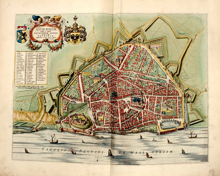 Nimwegen, Stadtplan Joan Blaeu 1652 von Atelier Liesjes