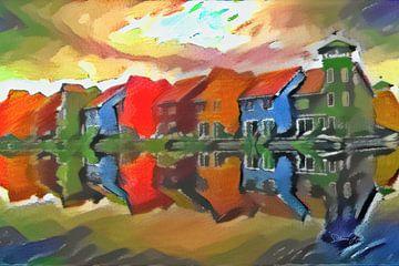 Abstracte Kunst van Groningen: Reitdiephaven in de stijl van Kandinsky van Slimme Kunst.nl