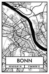Bonn – City Map Design Stadtplan Karte (Retro)