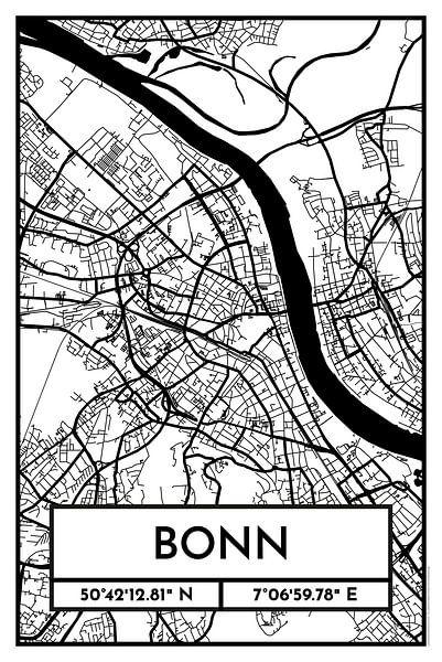 Bonn – City Map Design Stadtplan Karte (Retro) von ViaMapia