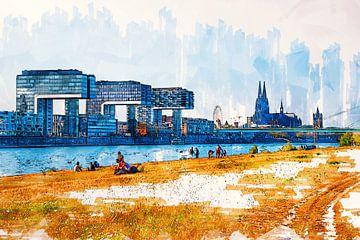 Köln Panorama Skyline Zeichnung von Michael Bartsch