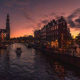 Sunset Prinsengracht (Amsterdam) van Thomas Bartelds