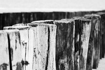 Nahaufnahme der Buhnen an der Küste von Zeeland | Schwarz-Weiß-Fotografie von Diana van Neck Photography