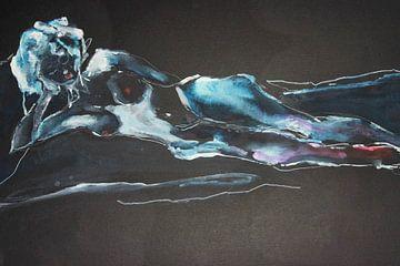 Naakt 3 (van 4), blauw zwart van ArtBoxi