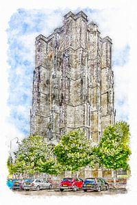 De Dikke Toren in Zierikzee (aquarel)