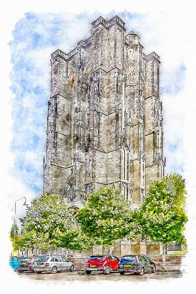 De Dikke Toren in Zierikzee (aquarel) van Art by Jeronimo
