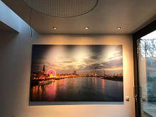 Klantfoto: Skyline of Dusseldorf van Michael Valjak, op canvas