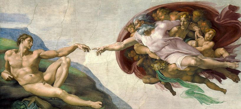 Die Erschaffung von Adam, Michelangelo von Diverse Meesters