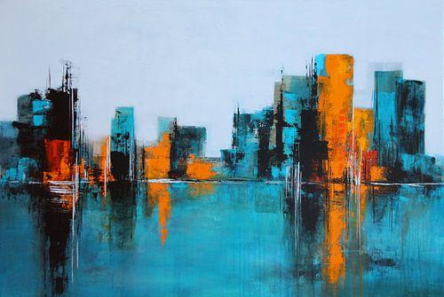 Skyline in Türkis van Claudia Neubauer