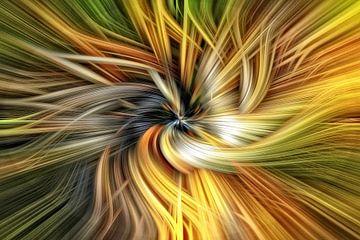Oranje zwart gat abstract van Jan van Reij