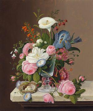 Fleurs du début de l'été dans un verre de céleri, Severin Roesen