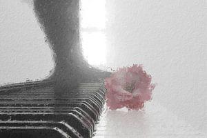 De bloem van de kersenbloesem ligt op pianotoetsen van Besa Art