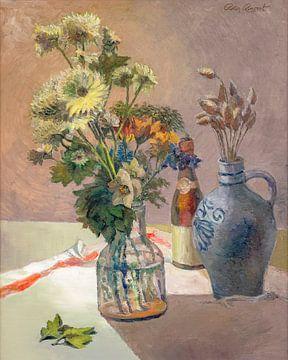 Stilleven; Bloemen in vaas - olie op doek - Pieter Ringoot - reproductie