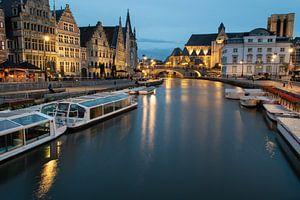 Avondbeeld in Gent centrum van
