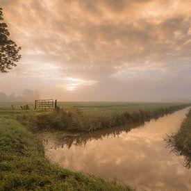 Hollands landschap: Betuwse polder met weiland en sloot van Moetwil en van Dijk - Fotografie