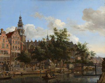 Vue d'Oudezijds Voorburgwal avec l'Oude Kerk à Amsterdam, Jan van der Heyden sur