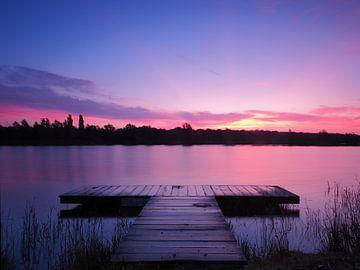 Sonnenaufgang über dem Heidemeer in Heerenveen von Wilco Berga