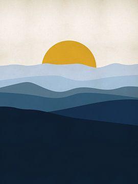 Blauw Landschap met zon van MDRN HOME