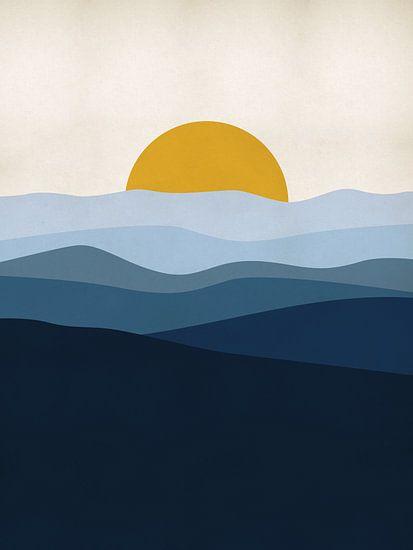 Blaue Landschaft mit Sonne