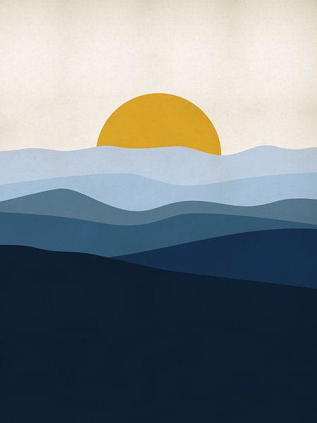 Blaue Landschaft mit Sonne von MDRN HOME