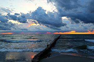 zonsondergang over de Baltische