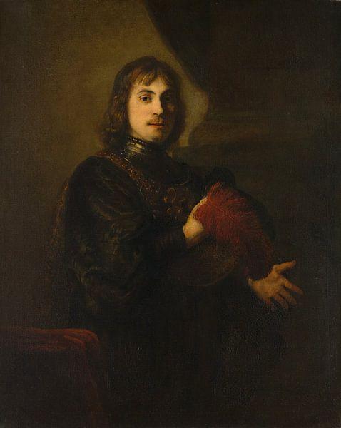 Porträt eines Mannes mit einem Brustpanzer und Federhut Stil von Rembrandt von Rembrandt van Rijn