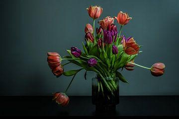 Bos tulpen in bloei in een vaas van glas tegen donkere achtergrond van Atelier Liesjes