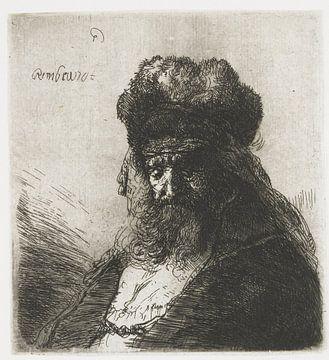 Bartiger alter Mann mit hoher Pelzmütze und geschlossenen Augen, Rembrandt van Rijn