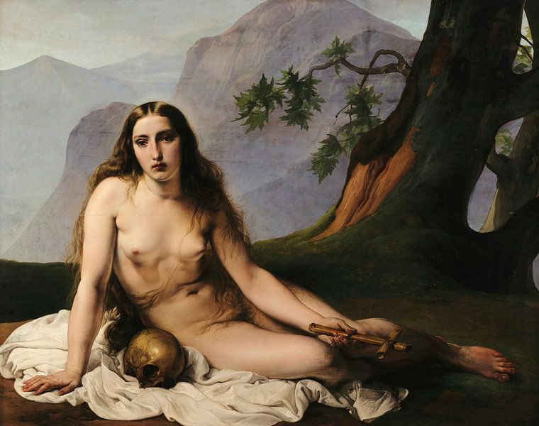 Maria Magdalena als Einsiedlerin, Francesco Hayez von Meesterlijcke Meesters