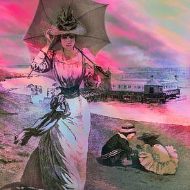 Stranddag, kleurrijke oude prent  van Ina Hölzel