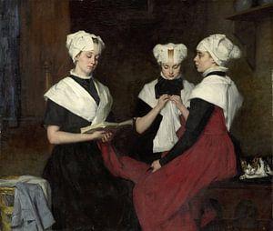 Drie meisjes uit het Amsterdamse Burgerweeshuis, Thérèse Schwartze