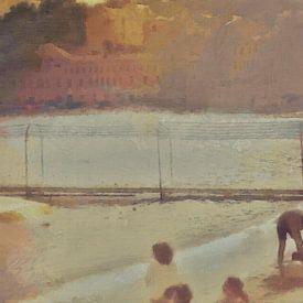 Italië - Gezelligheid aan het Strand - Italiaanse Rivièra - Schilderij van Schildersatelier van der Ven