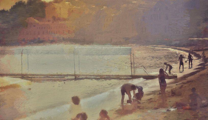 Italie - Sociabilité à la plage - Riviera italienne - Peinture sur Schildersatelier van der Ven
