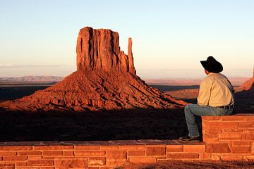 Cowboy bij Monument Valley van Gerrit de Heus